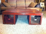 Red barnwood coffee table  (w/baskets $325 //// w/o baskets $225)