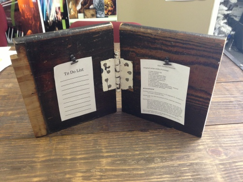This is a great way to display pictures, quotes, to-do-lists, receipts etc. Plain hinge $25.