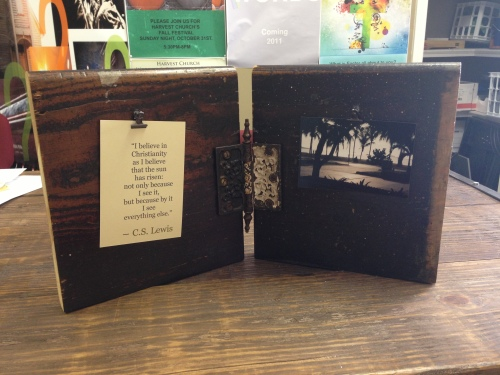 This is a great way to display pictures, quotes, to-do-lists, receipts etc. Designed hinge $30.